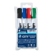 Táblamarker készlet, 1-3 mm, kúpos, VICTORIA City, 4 különböző szín (TVI2313V)