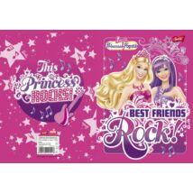 Füzet, tűzött, A5, vonalas, 32 lap, 1. osztály, UNIPAP Barbie glitter (UN1011V1)