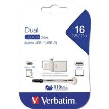 Pendrive, 16GB, USB 3.0+micro USB adapter, táblagéphez, VERBATIM Micro (UV16GMO)