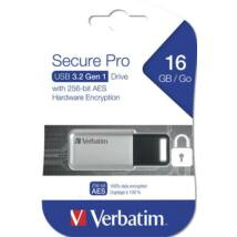 Pendrive, 16GB, USB 3.0, 100/20MB/sec, PC & MAC, VERBATIM SECURE DATA PRO, szürke (UV16GSS2)
