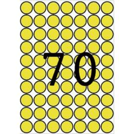 Etikett, 19 mm kör, színes, A5 hordozón, APLI, sárga, 560 etikett/csomag (LCA12103)
