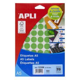 Etikett, 19 mm kör, színes, A5 hordozón, APLI, zöld, 560 etikett/csomag (LCA12106)