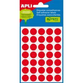 Etikett, 13 mm kör, kézzel írható, színes, APLI, piros, 175 etikett/csomag (LCA2057)
