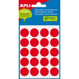 Etikett, 19 mm kör, kézzel írható, színes, APLI, piros, 100 etikett/csomag (LCA2065)
