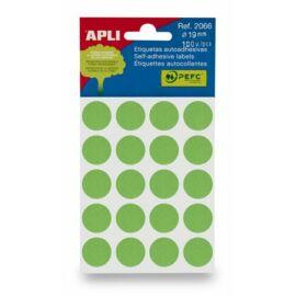 Etikett, 19 mm kör, kézzel írható, színes, APLI, zöld 100 etikett/csomag (LCA2066)