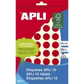 Etikett, 16 mm kör, kézzel írható, színes, APLI, piros, 432 etikett/csomag (LCA2740)