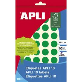 Etikett, 16 mm kör, kézzel írható, színes, APLI, zöld, 432 etikett/csomag (LCA2741)
