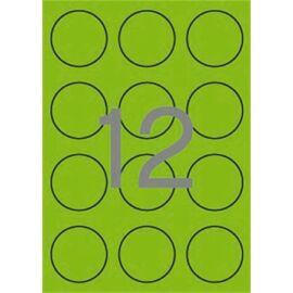 Etikett, 60 mm kör, színes, APLI, neon zöld, 240 etikett/csomag (LCA2869)