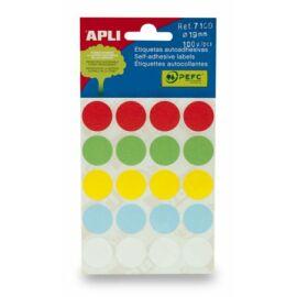 Etikett, 19 mm kör, kézzel írható, színes, APLI, vegyes színek, 100 etikett/csomag (LCA7109)