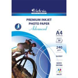 Fotópapír, tintasugaras, A4, 240 g, fényes, VICTORIA Advanced (LVIG05)