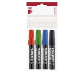 Alkoholos marker készlet, 1-3 mm, kúpos, ICO Permanent 11, 4 különböző szín (TICP11V4)