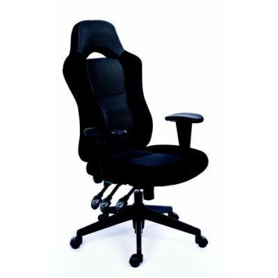Főnöki szék, fekete/szürke gyöngyszövet-borítás, fekete lábkereszt, MAYAH Racer (BBSZVV21)