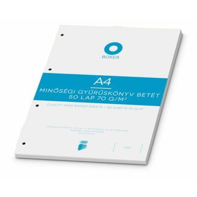 Gyűrűs könyv betét, A4, vonalas, 50 lap, BOXER, fehér (BOXGYB4V)