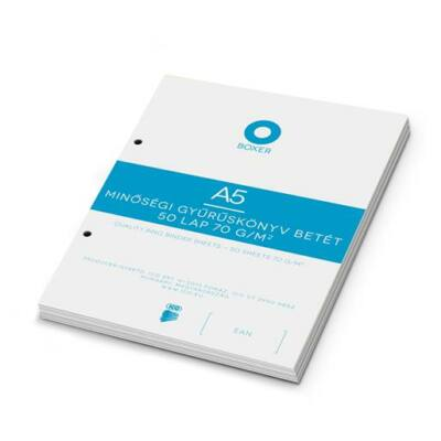 Gyűrűs könyv betét, A5, sima, 50 lap, BOXER, fehér (BOXGYB5S)