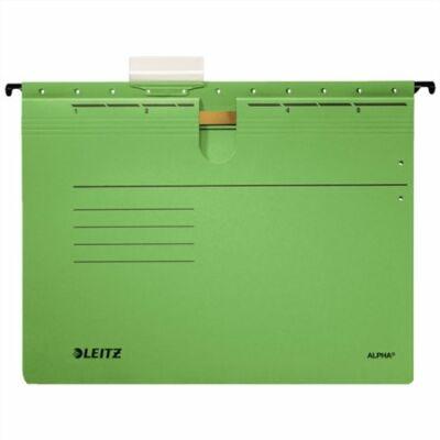 Függőmappa, gyorsfűzős, karton, A4, LEITZ Alpha, zöld (E19840055)