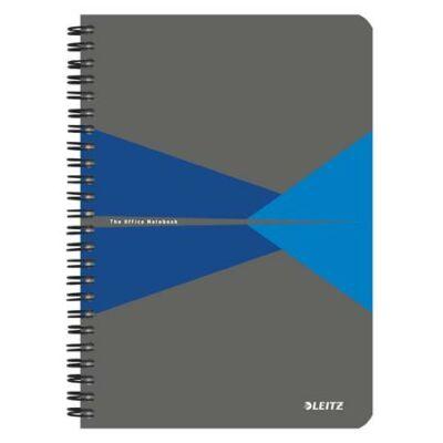 Spirálfüzet, A5, kockás, 90 lap, laminált karton borító, LEITZ Office, szürke-kék (E44580035)