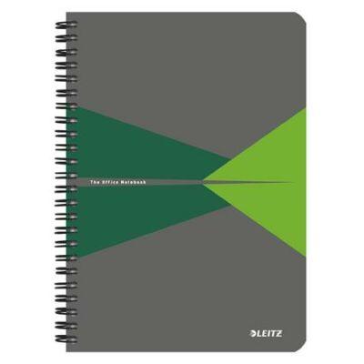 Spirálfüzet, A5, kockás, 90 lap, laminált karton borító, LEITZ Office, szürke-zöld (E44580055)
