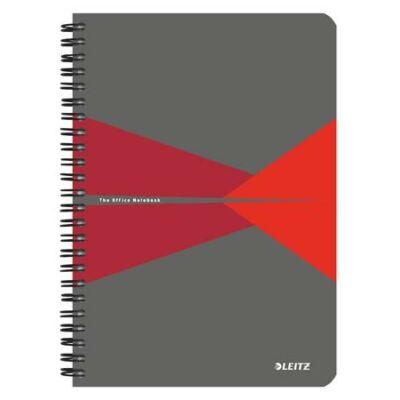 Spirálfüzet, A5, vonalas, 90 lap, laminált karton borító, LEITZ Office, szürke-piros (E44590025)