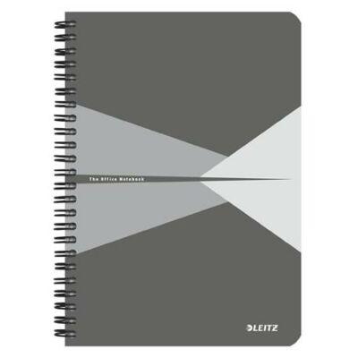 Spirálfüzet, A5, vonalas, 90 lap, laminált karton borító, LEITZ Office, szürke (E44590085)