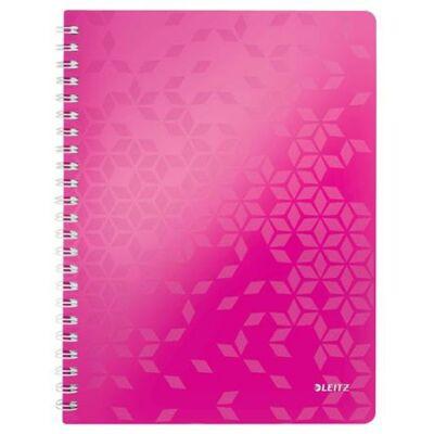Spirálfüzet, A4, kockás, 80 lap, LEITZ Wow, rózsaszín (E46380023)