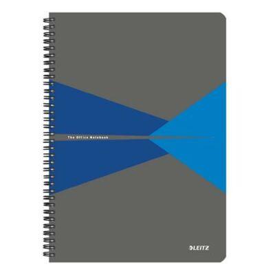 Spirálfüzet, A4, kockás, 90 lap, laminált karton borító, LEITZ Office, szürke-kék (E46470035)