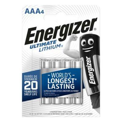 Elem, AAA mikro, 4 db, Lítium, ENERGIZER Ultimate Lithium (EEAAA4L)