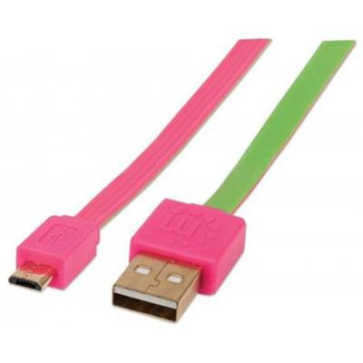 USB kábel, USB - micro USB, csavarodásmentes, 1 m, MANHATTAN, rózsaszín-zöld (KMA391443)