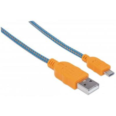 USB kábel, USB - micro USB, 1 m, fonott, MANHATTAN, kék-narancssárga (KMA394024)