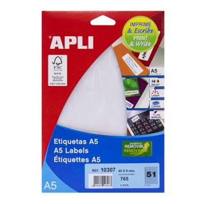 Etikett, 45x8 mm, eltávolítható, ékszerekhez, A5 hordozón, APLI, 765 etikett/csomag (LCA10307)