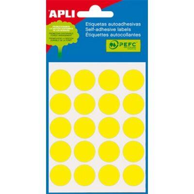 Etikett, 19 mm kör, kézzel írható, színes, APLI, sárga, 100 etikett/csomag (LCA2063)
