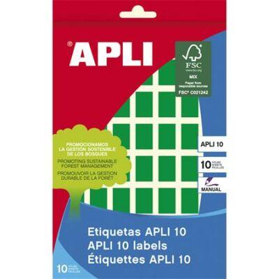Etikett, 12x18 mm, kézzel írható, színes, kerekített sarkú, APLI, zöld, 448 etikett/csomag (LCA2753)