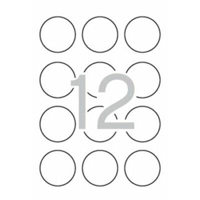 Etikett, 60 mm kör, színes, APLI, neon sárga, 240 etikett/csomag (LCA2866)