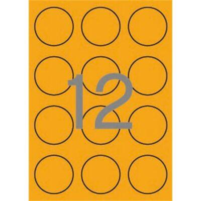 Etikett, 60 mm kör, színes, APLI, neon narancs, 240 etikett/csomag (LCA2867)