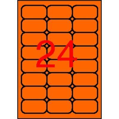 Etikett, 64x33,9 mm, színes, kerekített sarkú, APLI, neon narancs, 480 etikett/csomag (LCA2871)