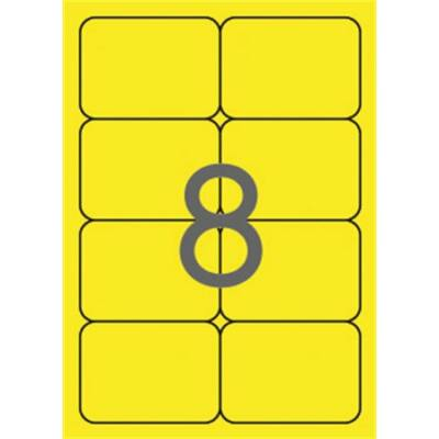 Etikett, 99,1x67,7 mm, színes, kerekített sarkú, APLI, neon sárga, 160 etikett/csomag (LCA2874)