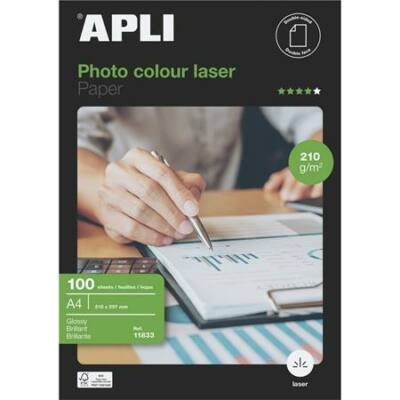 Fotópapír, lézer, A4, 210 g, fényes, kétoldalas, APLI Premium Laser (LEAA11833)