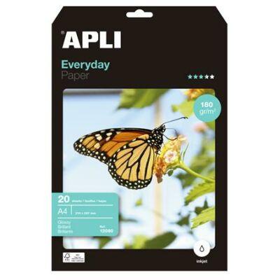 Fotópapír, tintasugaras, A4, 180 g, fényes, APLI Everyday (LEAA12080)