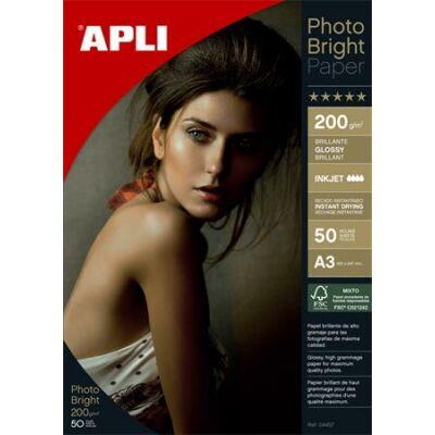 Fotópapír, tintasugaras, A3, 200 g, fényes, APLI Photo Bright (LEAA4457)