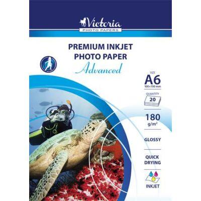 Fotópapír, tintasugaras, A6, 180 g, fényes, VICTORIA Advanced (LVIG04)