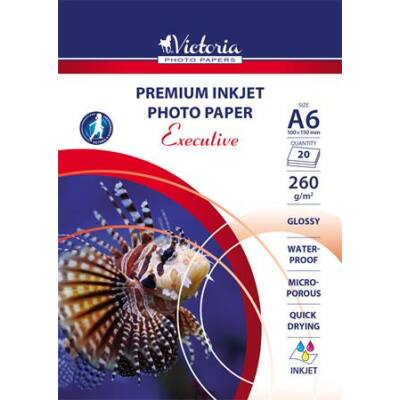 Fotópapír, tintasugaras, A6, 260 g, magasfényű, VICTORIA Executive (LVIP02)