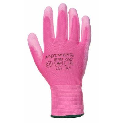Szerelőkesztyű, tenyéren mártott, 7-es méret, rózsaszín (MED068)