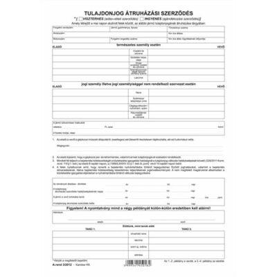 Nyomtatvány, tulajdonjog átruházási szerződés (adásvét.szer. gk), 4 példány, A4,VICTORIA A.REND 3 (NVAREND3)