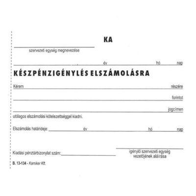 Nyomtatvány, Készpénzigénylés elszámolásra, 50x2, A6, VICTORIA, B.13-134 (NVB13134)