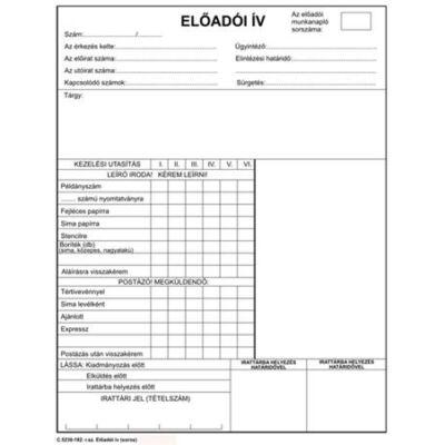 Előadói ív szabadlap A/4 négyoldalas (NVC5230182)
