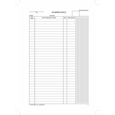 Nyomtatvány, felmérési napló, 25x5, A4, VICTORIA D.7570-104 (NVD7570104)