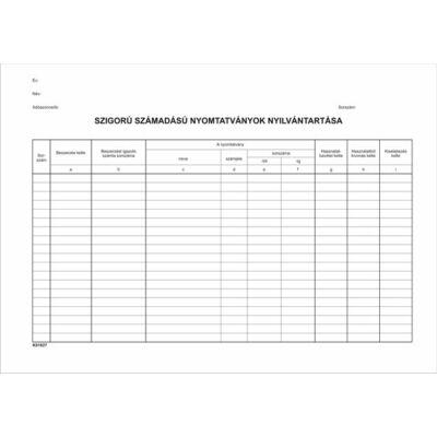 Nyomtatvány, szigorú számadású nyomtatványok nyilvántartása, 25 lap, A4, VICTORIA (NVKO1827)