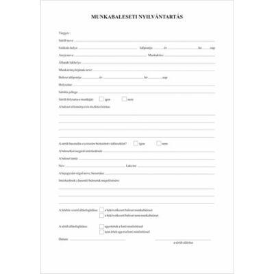 Nyomtatvány, munkabaleseti nyilvántartó napló, 32 oldal,  A4, VICTORIA (NVKO657)