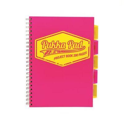 Spirálfüzet, A4, kockás, 100 lap, PUKKA PAD Neon project book, rózsaszín (PUPB7080K)