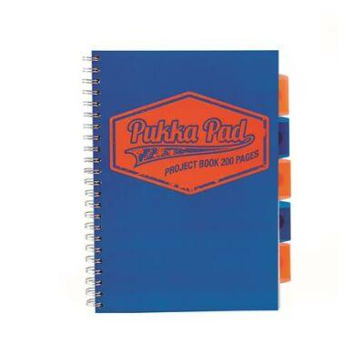 Spirálfüzet, A4, kockás, 100 lap, PUKKA PAD Neon project book, kék (PUPB7081K)
