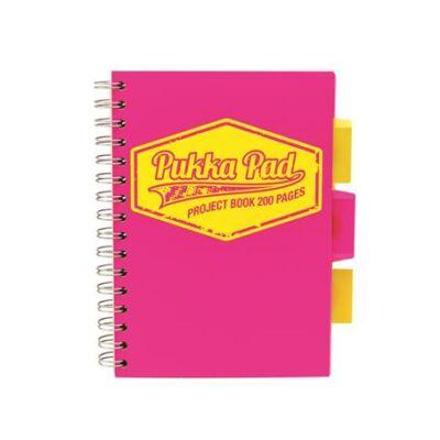Spirálfüzet, A5, kockás, 100 lap, PUKKA PAD Neon project book, rózsaszín (PUPB7145K)
